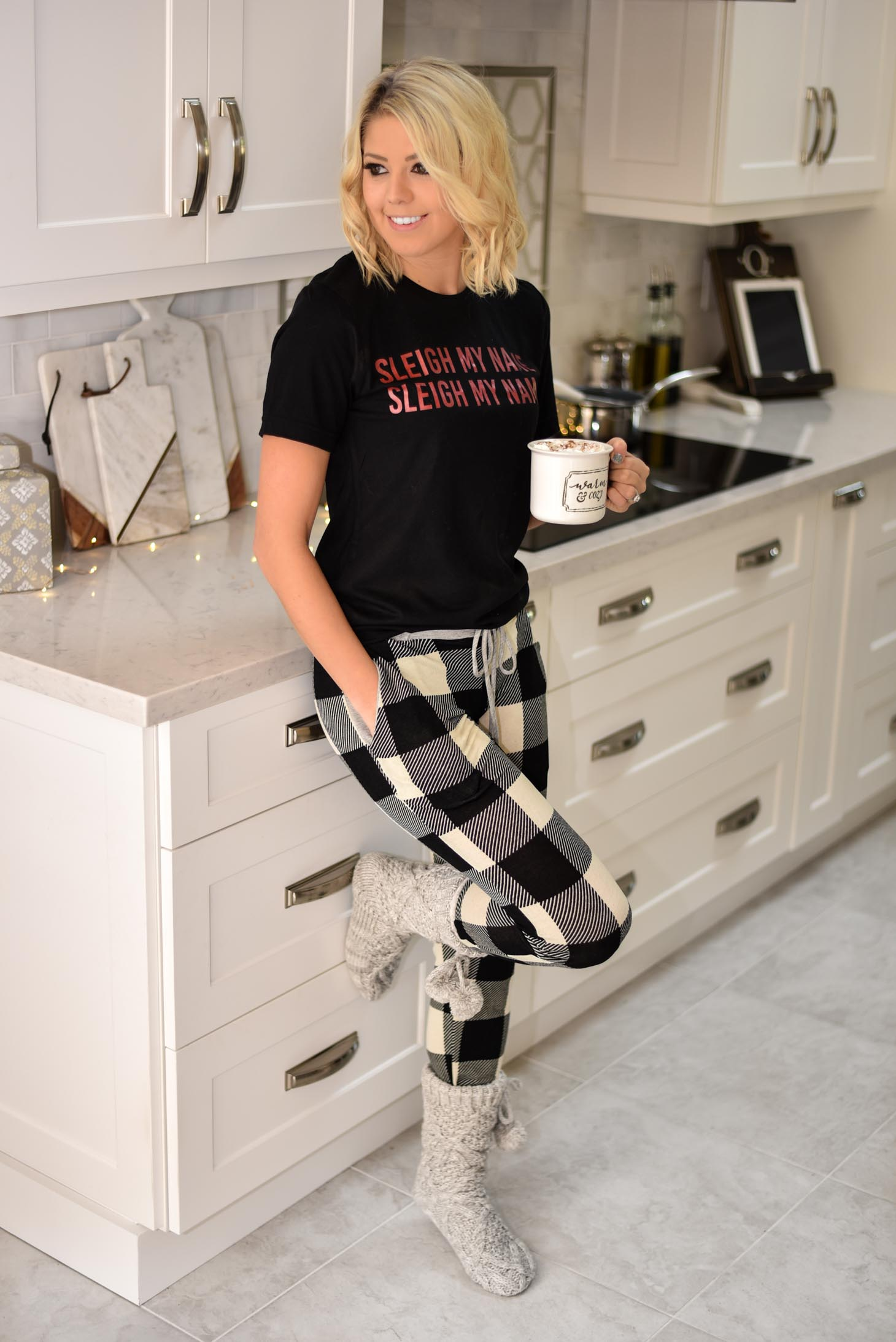 Erin Elizabeth of Wink and a Twirl in Pink Lily Loungewear