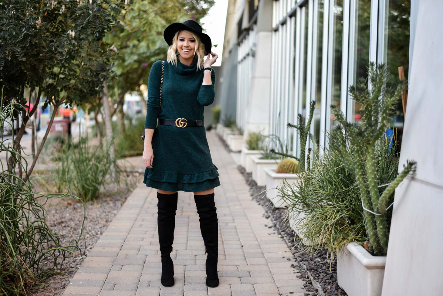 Erin Elizabeth of Wink and a Twirl Wearing Bella Rose Boutique Sweater Dress
