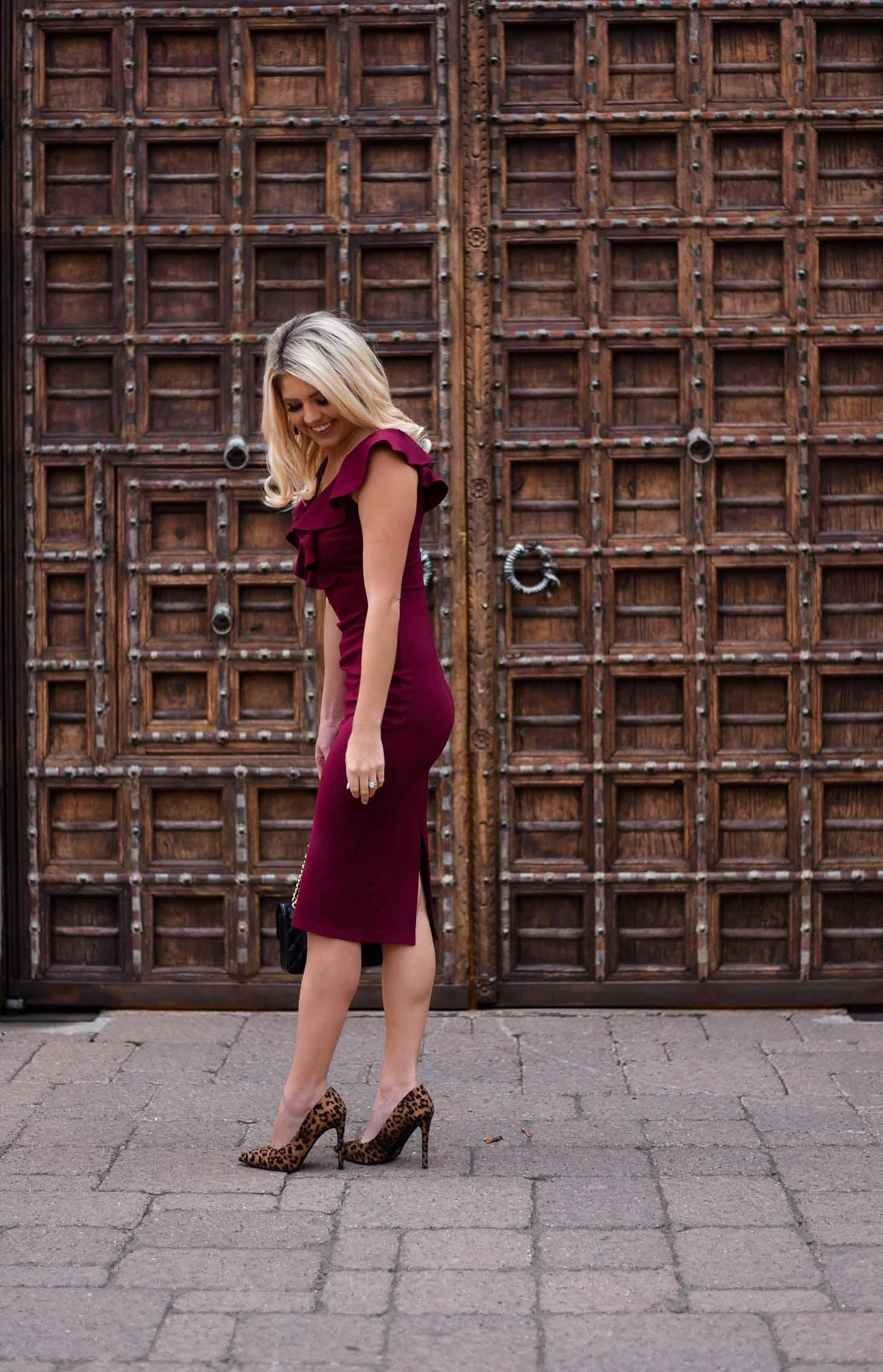 Erin Elizabeth of Wink and a Twirl Anniversary Burgundy Dress