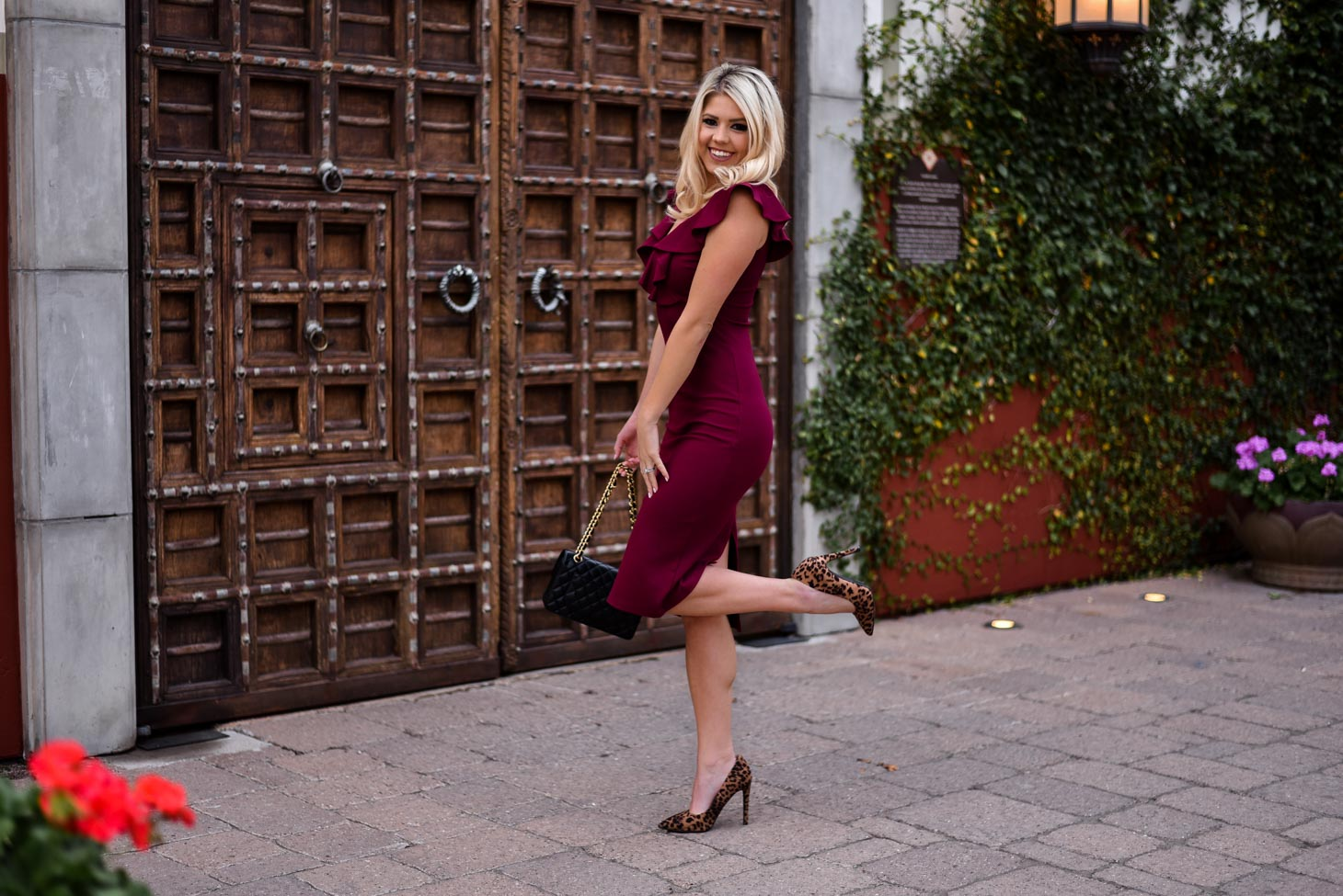 Erin Elizabeth of Wink and a Twirl Anniversary Burgundy Dress