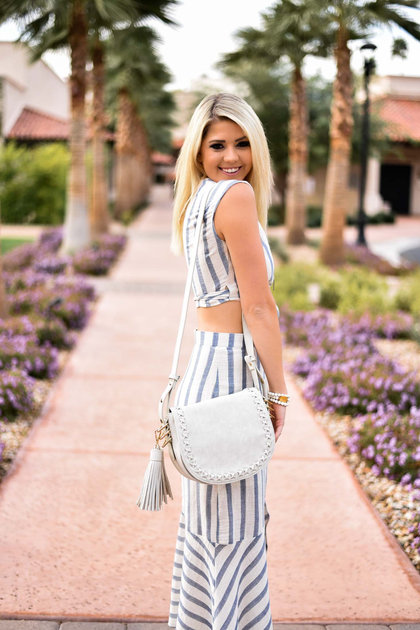 Erin Elizabeth of Wink and a Twirl in this 3 Jems Boutique Spring Striped Look