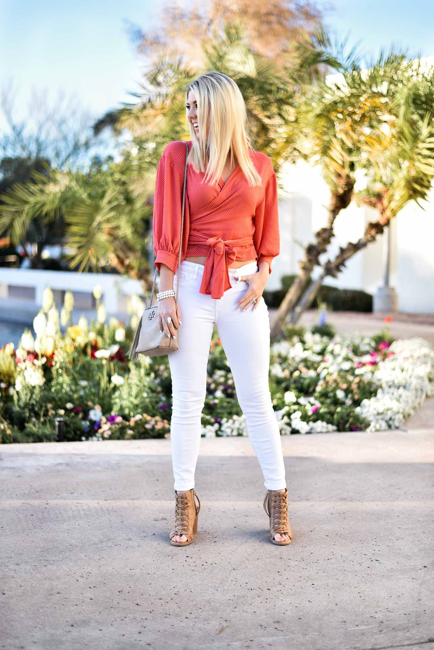 Erin Elizabeth of Wink and a Twirl Spring Polka Dot Wrap Top