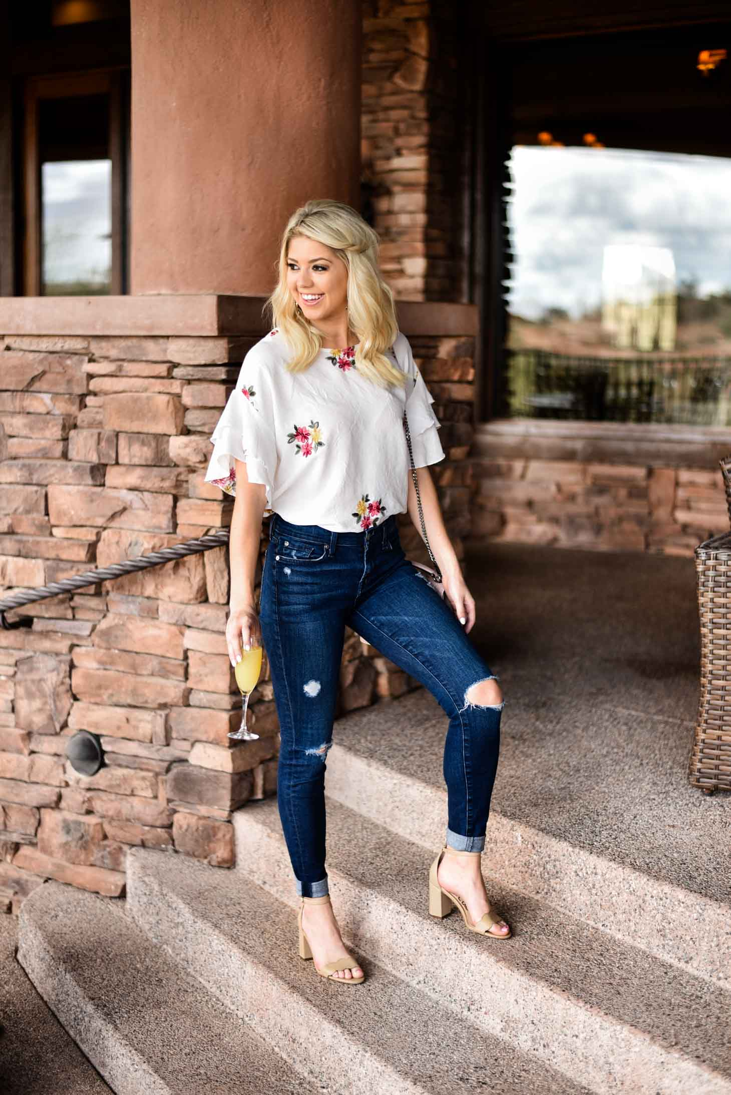 Erin Elizabeth of Wink and a Twirl in Forever 21 Spring Floral Top and Denim