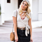 Erin Elizabeth of Wink and a Twirl Spring Style With Urban Outfitters Black Denim Skirt