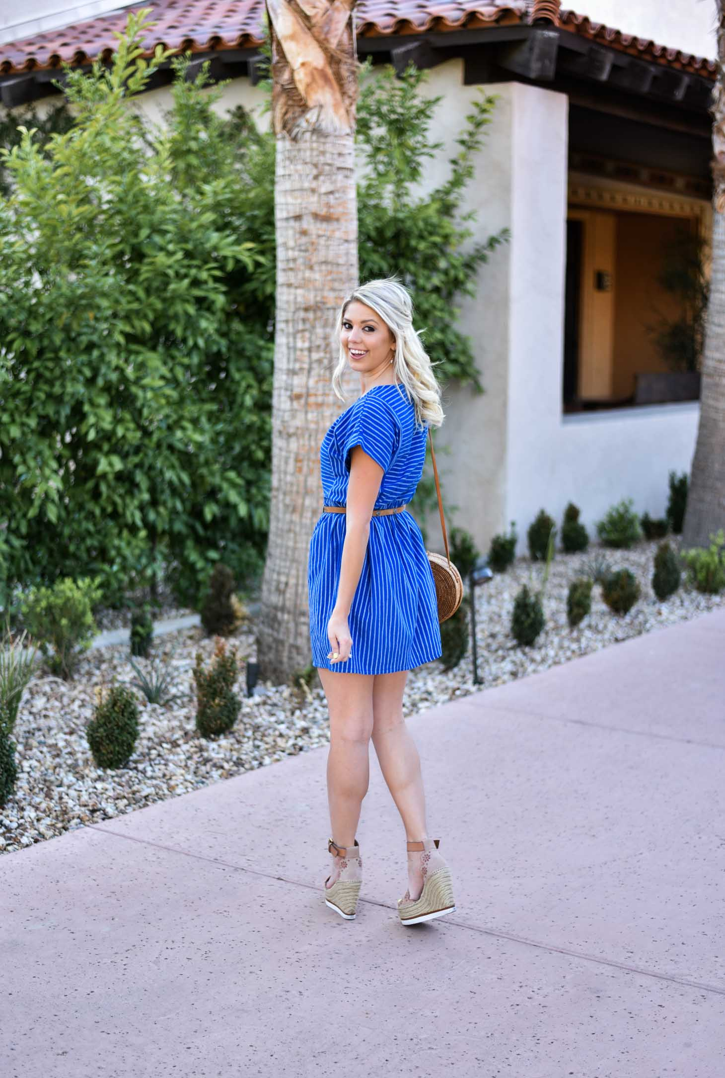 Erin Elizabeth of Wink and a Twirl in Spring Striped Blue Dress