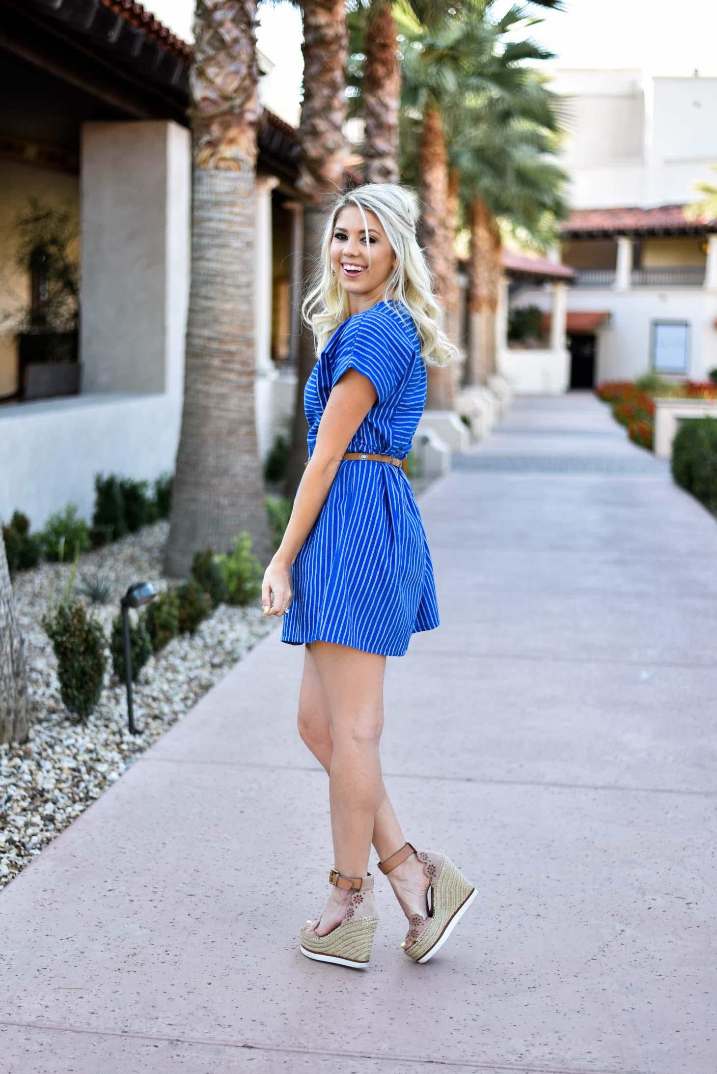 Erin Elizabeth of Wink and a Twirl in Spring Striped Blue Dress