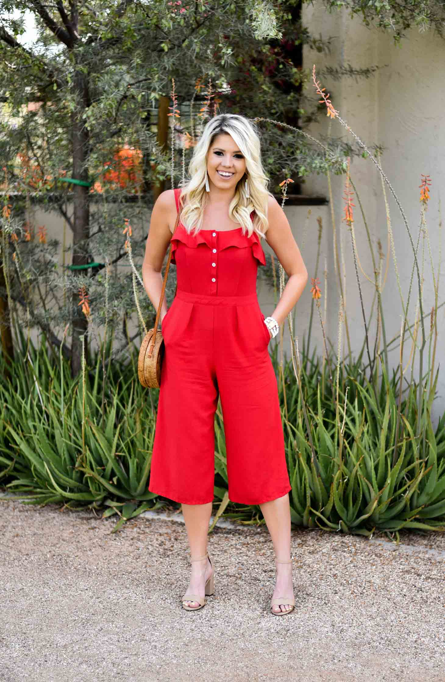 Erin Elizabeth of Wink and a Twirl in Red Jumpsuit Red Dress Boutique