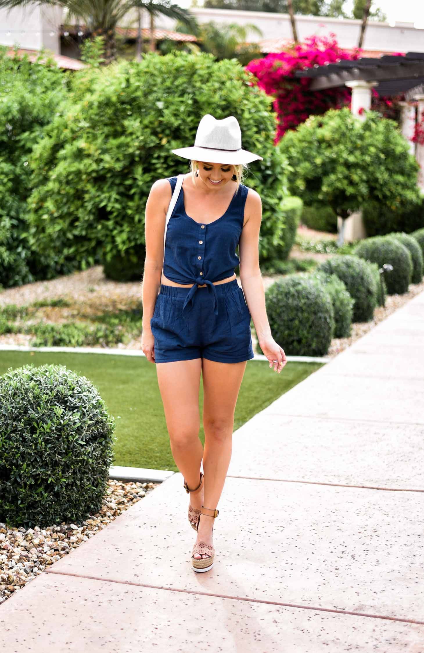 Erin Elizabeth of Wink and a Twirl in Entourage Clothing Two Piece Blue Jean Set