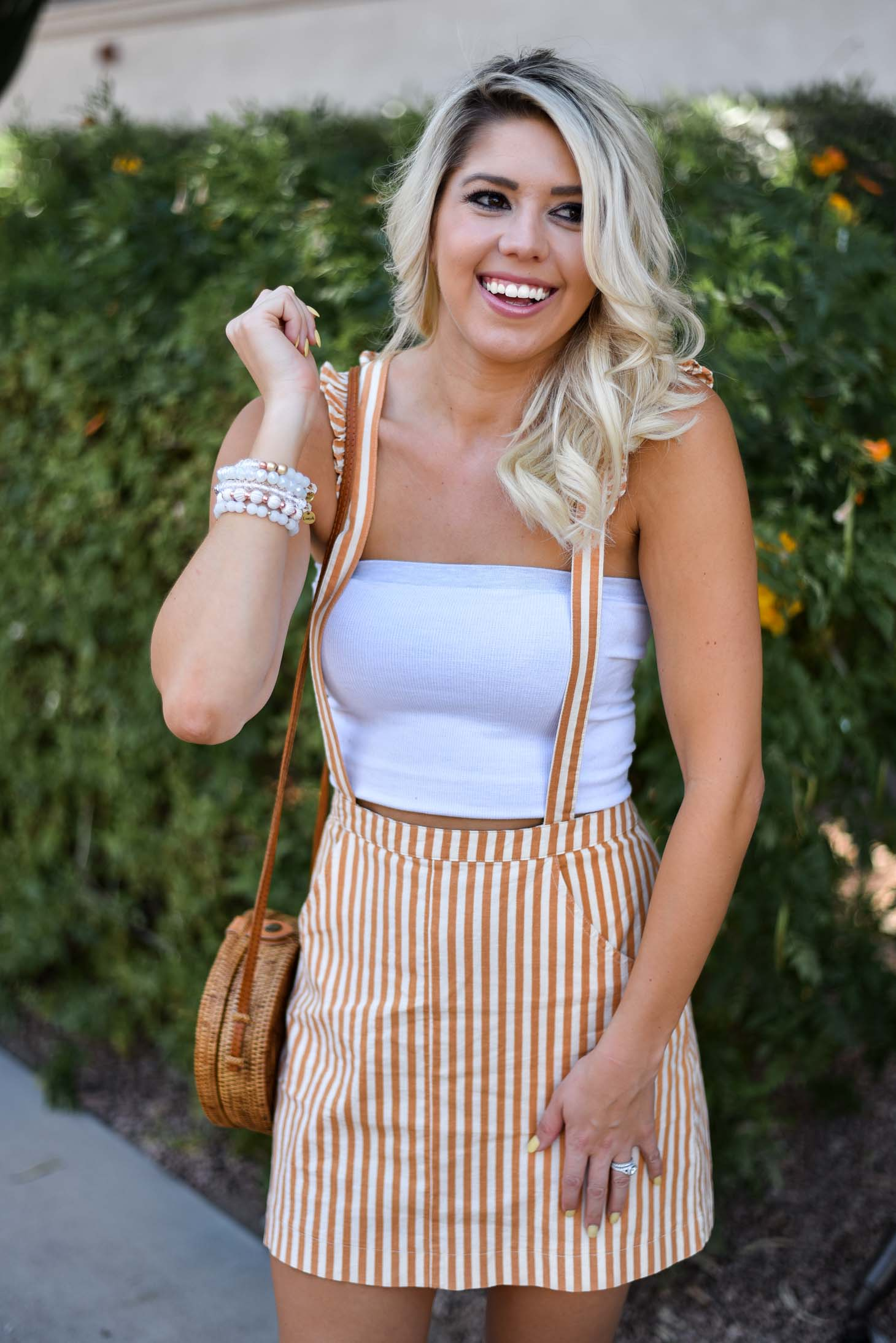 Erin Elizabeth of Wink and a Twirl in this Urban Outfitters Striped Jumper Spring Style