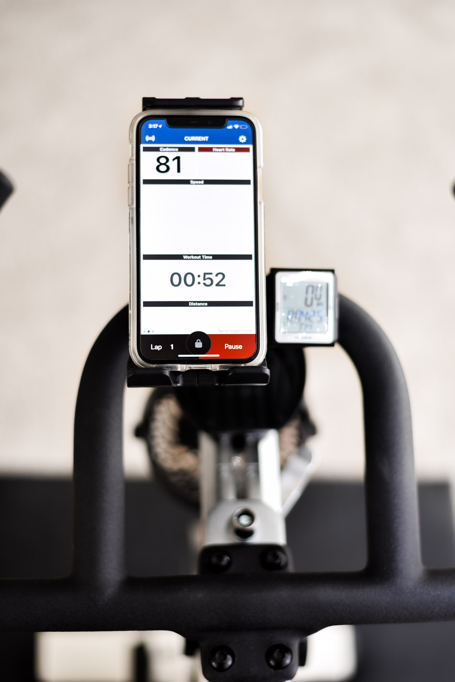 Erin Elizabeth of Wink and a Twirl at home fitness cycling routine with Peloton