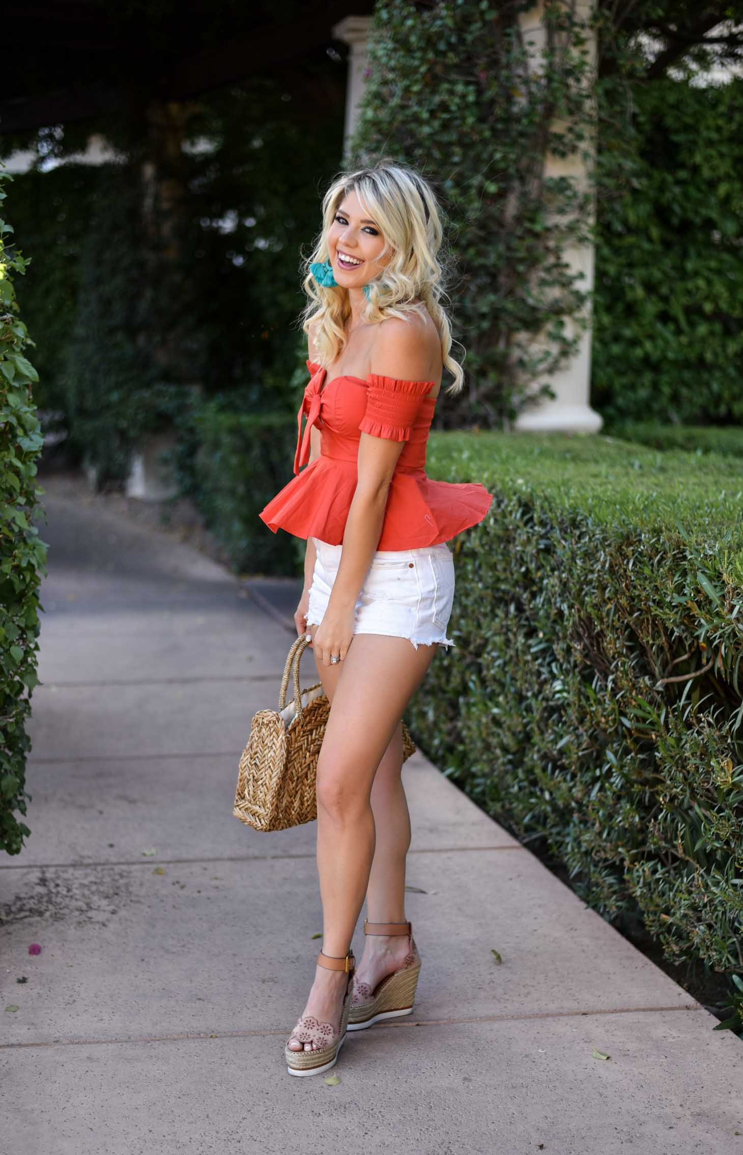 Erin Elizabeth of Wink and a Twirl in Red Off the Shoulder Socialite Top Summer Style with Nordstrom