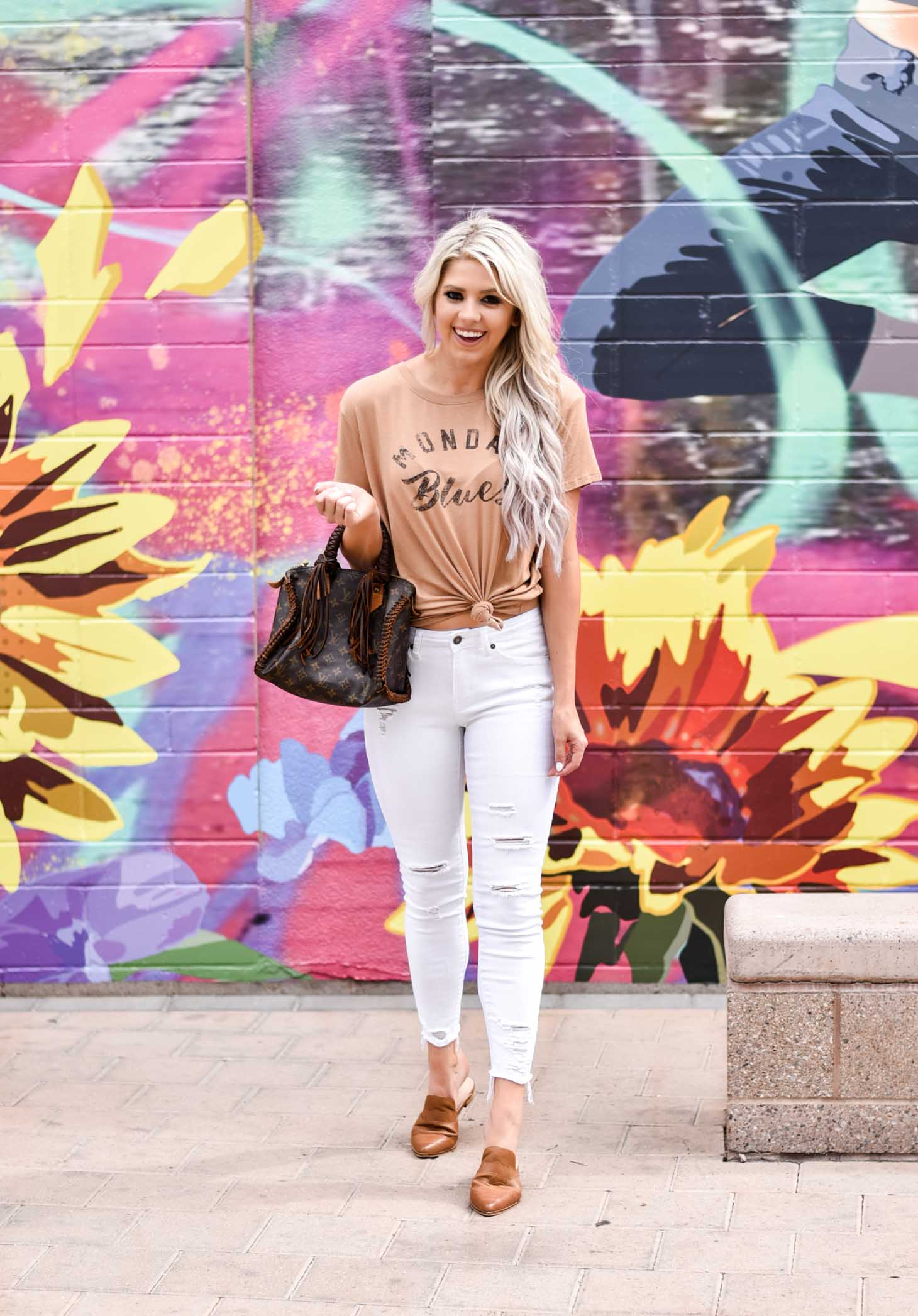 Erin Elizabeth of Wink and a Twirl shares this Vici Dolls Collection Monday Blues tee and white pants