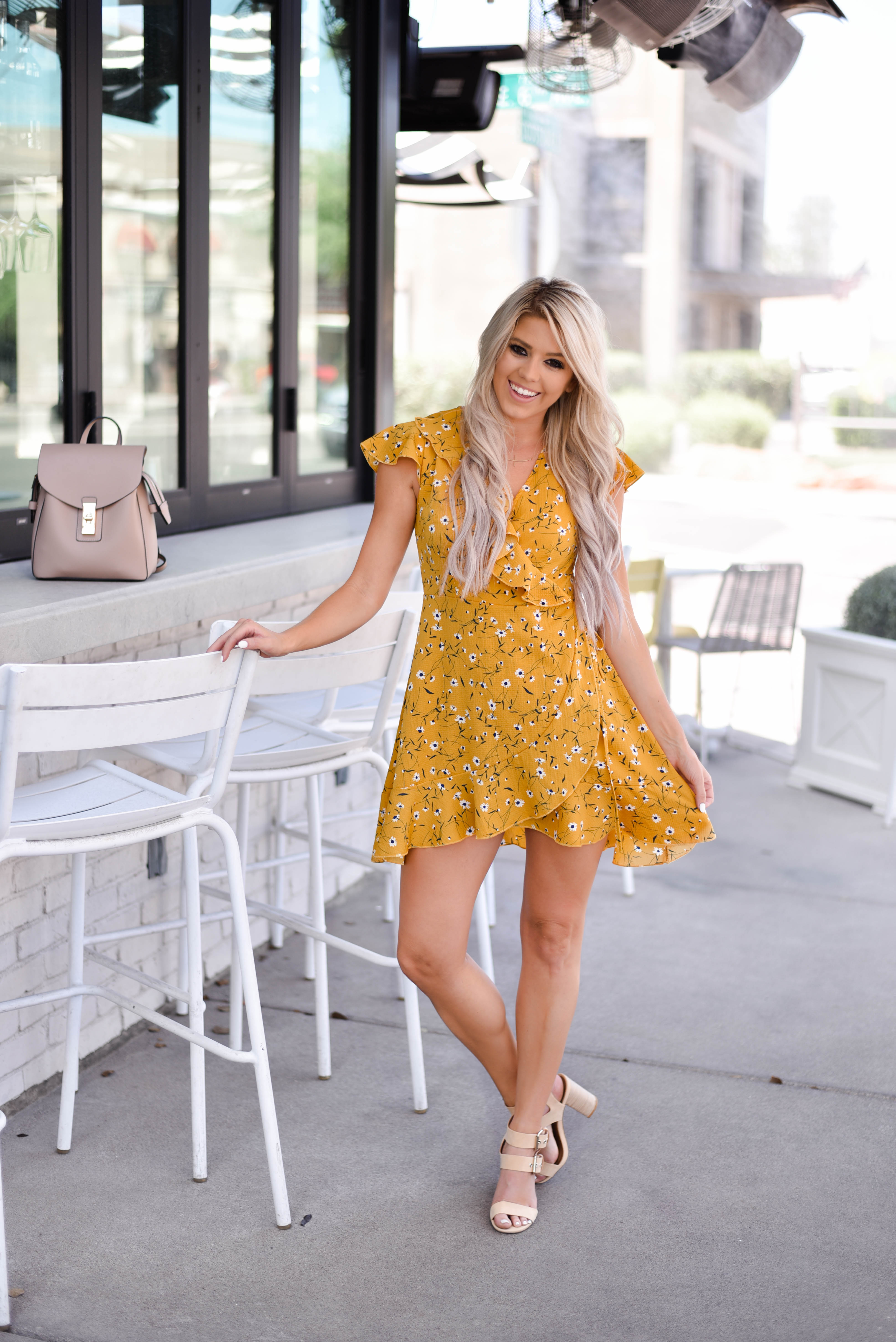 Erin Elizabeth of Wink and a Twirl shares the cutest yellow dress from Chicwish