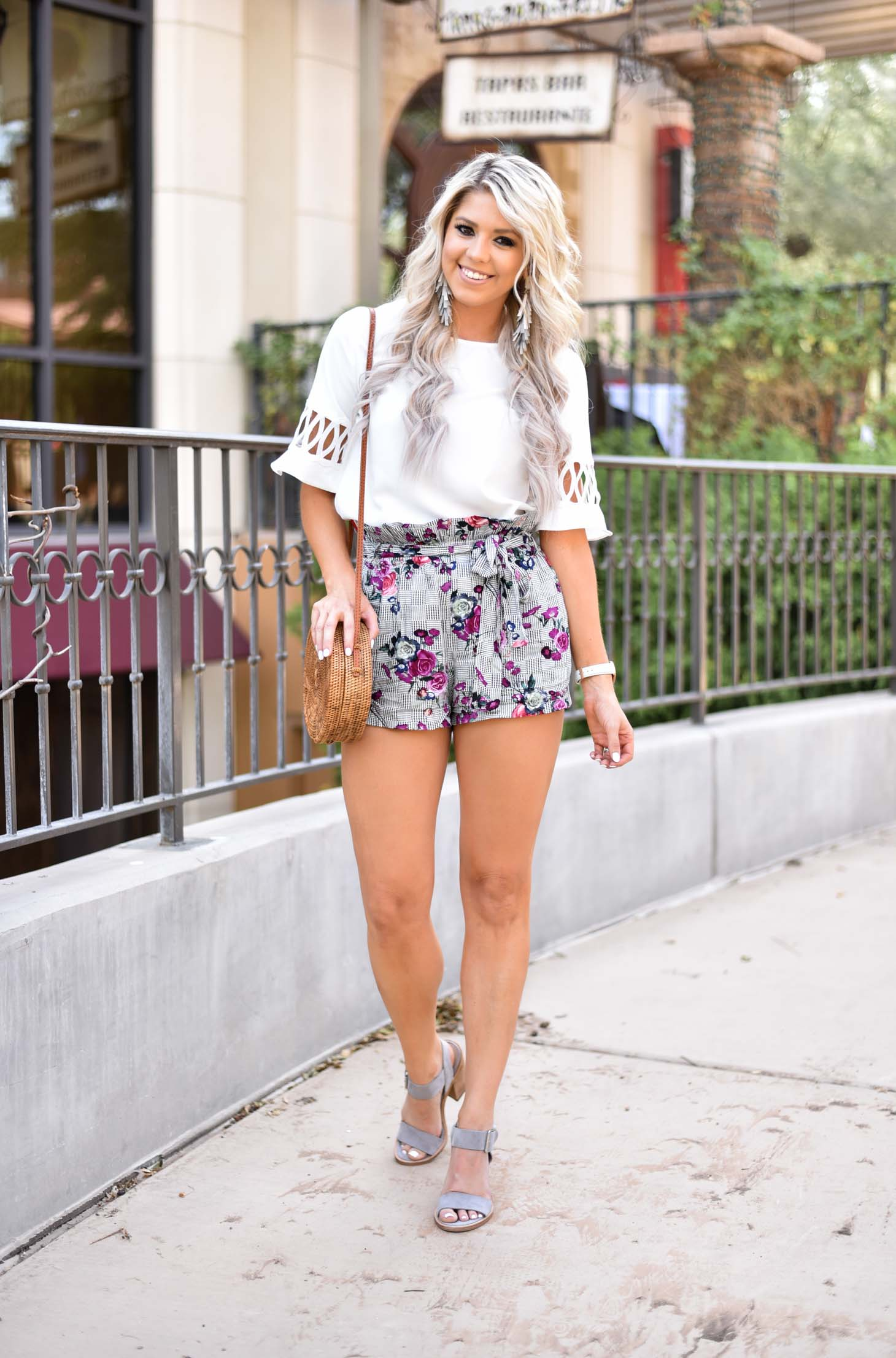 Floral and Checked Print Shorts graphic