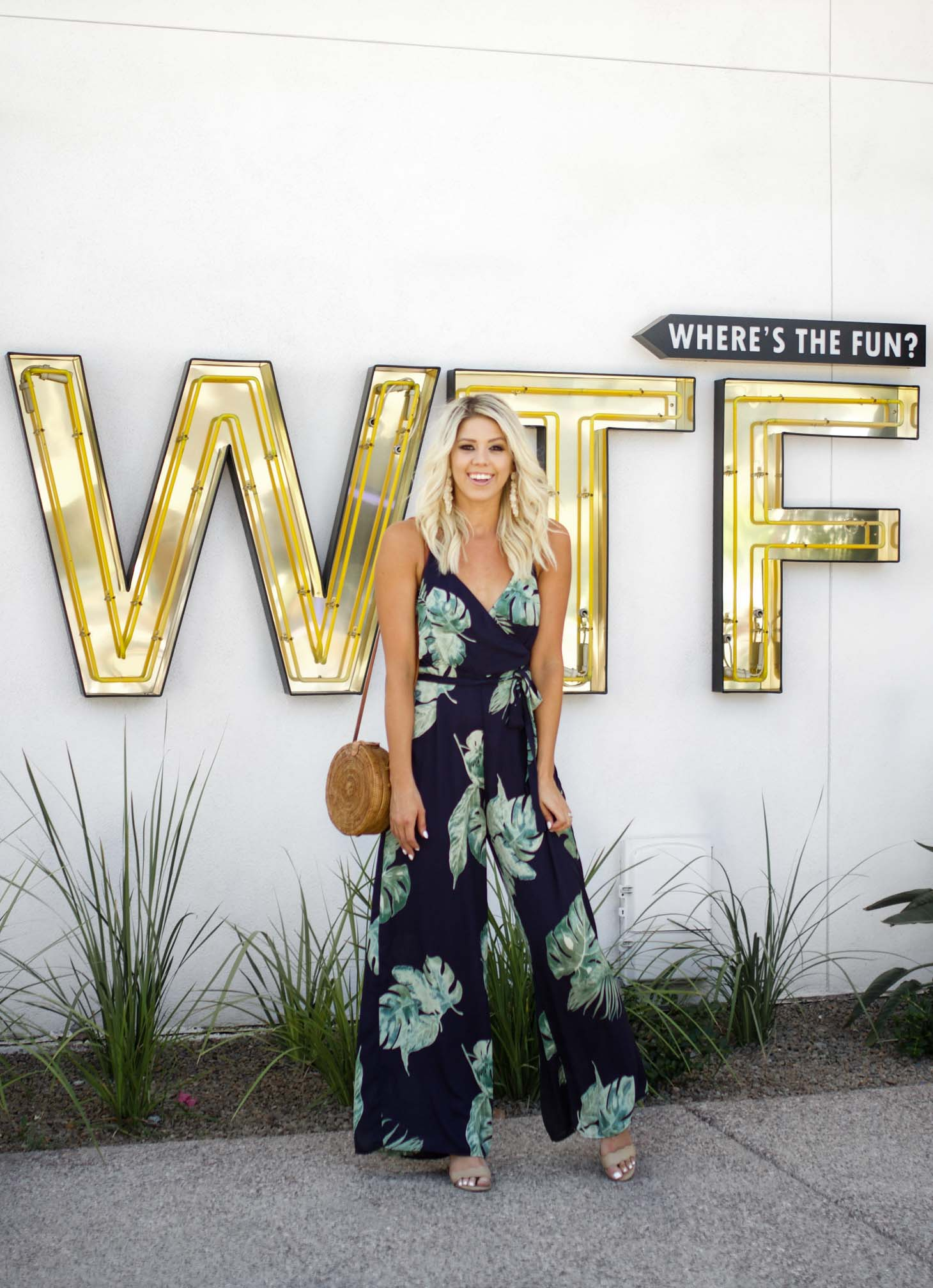 Erin Elizabeth of Wink and a Twirl shares the cutest Vici Dolls palm print jumpsuit for your next vacay!