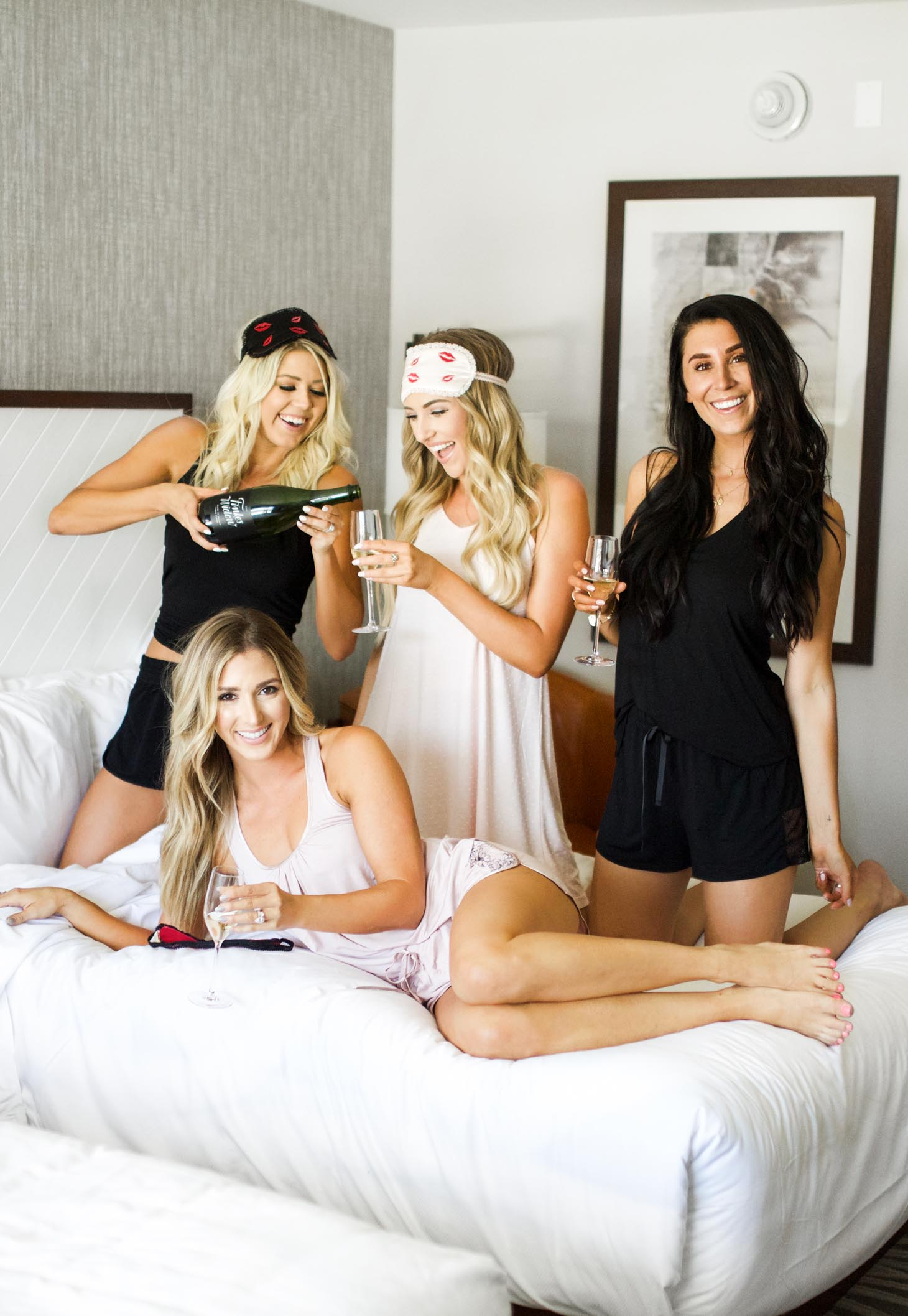 Erin Elizabeth of Wink and a Twirl and blogger besties share the cutest pajamas from Fleur'T during their staycation at the Hotel Adeline