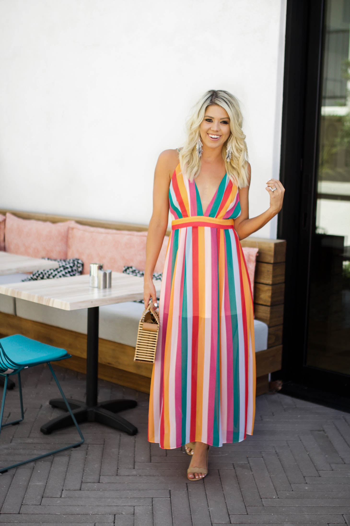 Erin Elizabeth of Wink and a Twirl shares this striped maxi from Red Dress Boutique