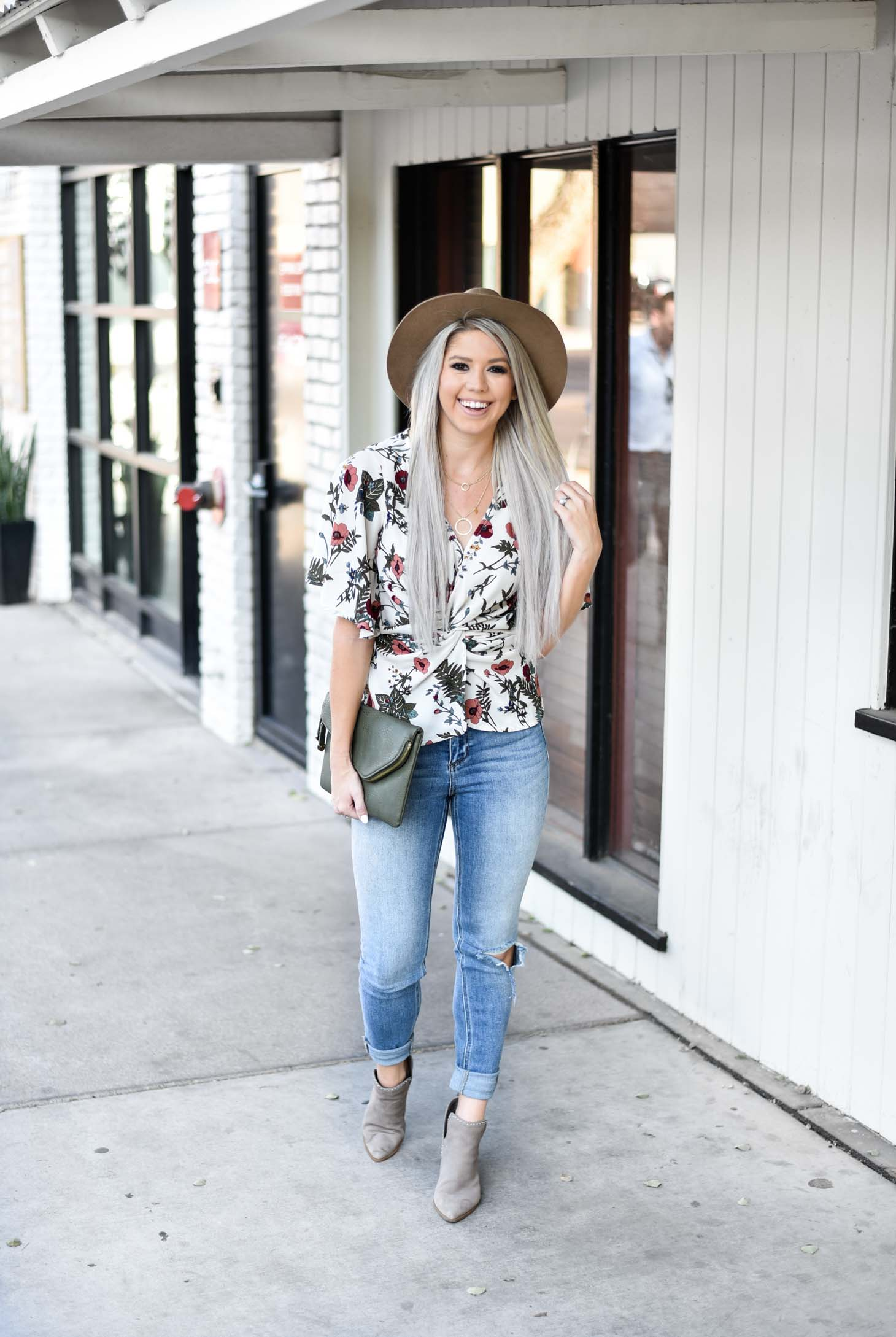 Twisted Floral Peplum Top graphic