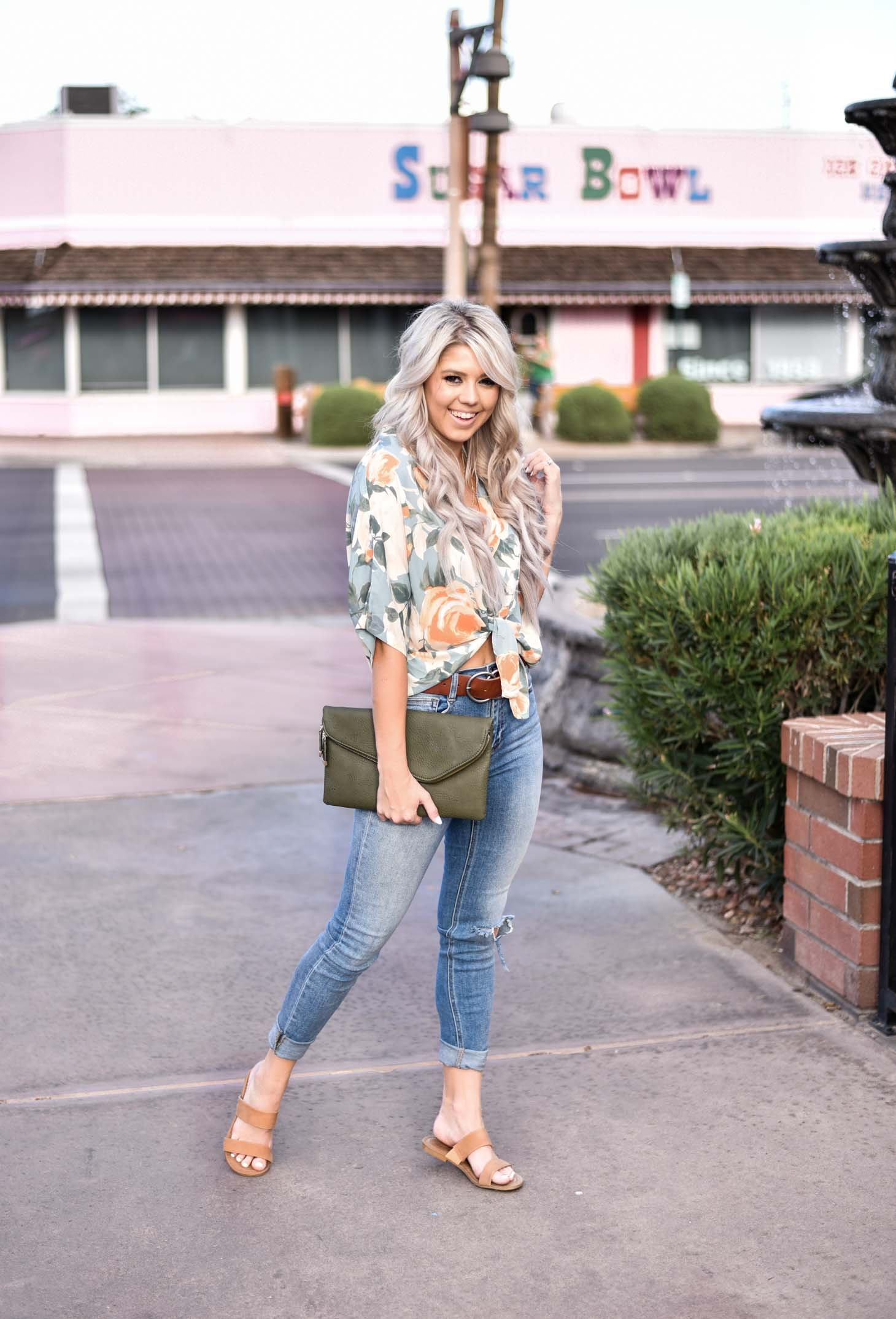 Erin Elizabeth of Wink and a Twirl share the cutest floral tie top from 8.28 Boutique