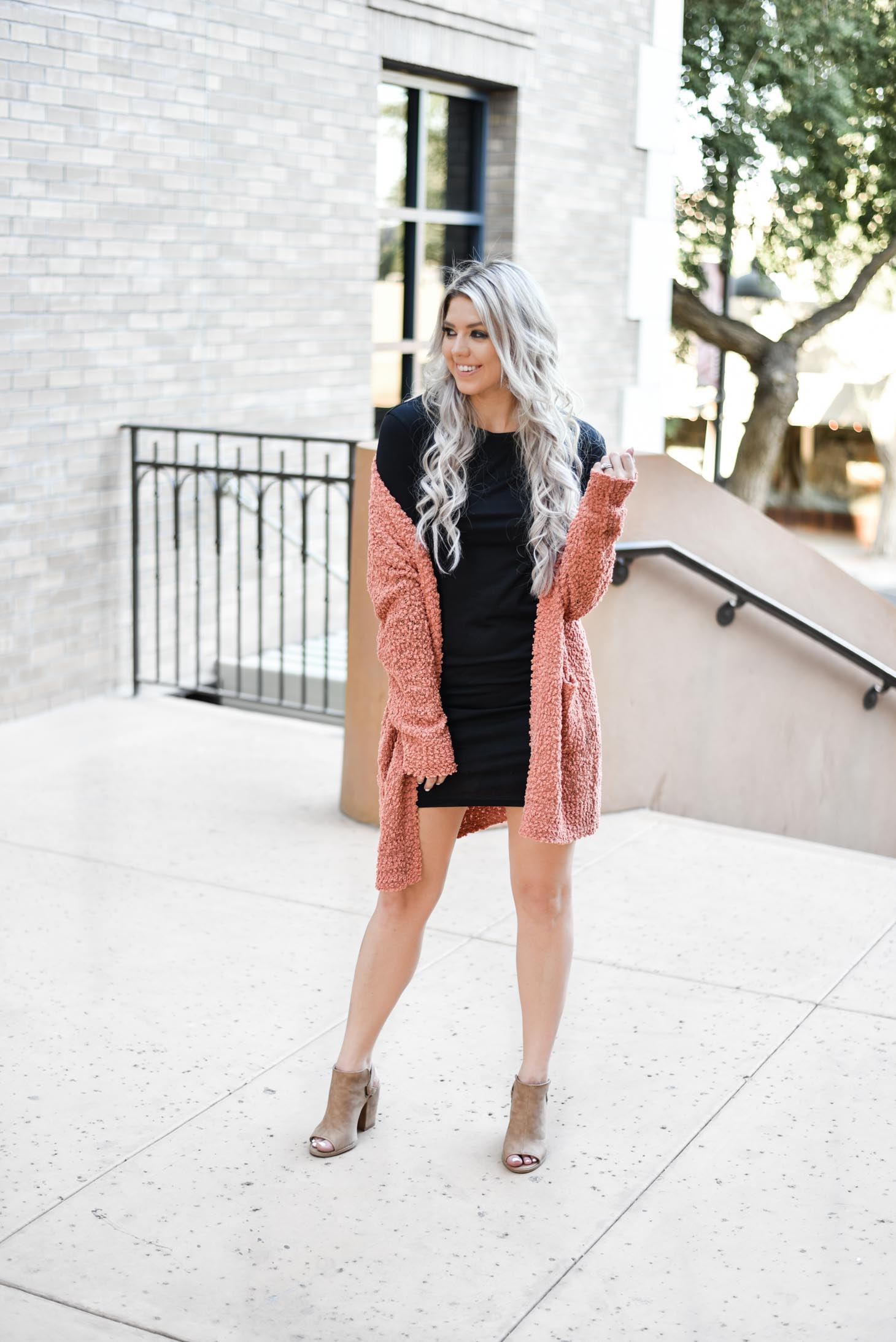 Erin Elizabeth of Wink and a Twirl styles the must have bodycon long sleeve dress from Pink Lily Boutique two different ways for Fall