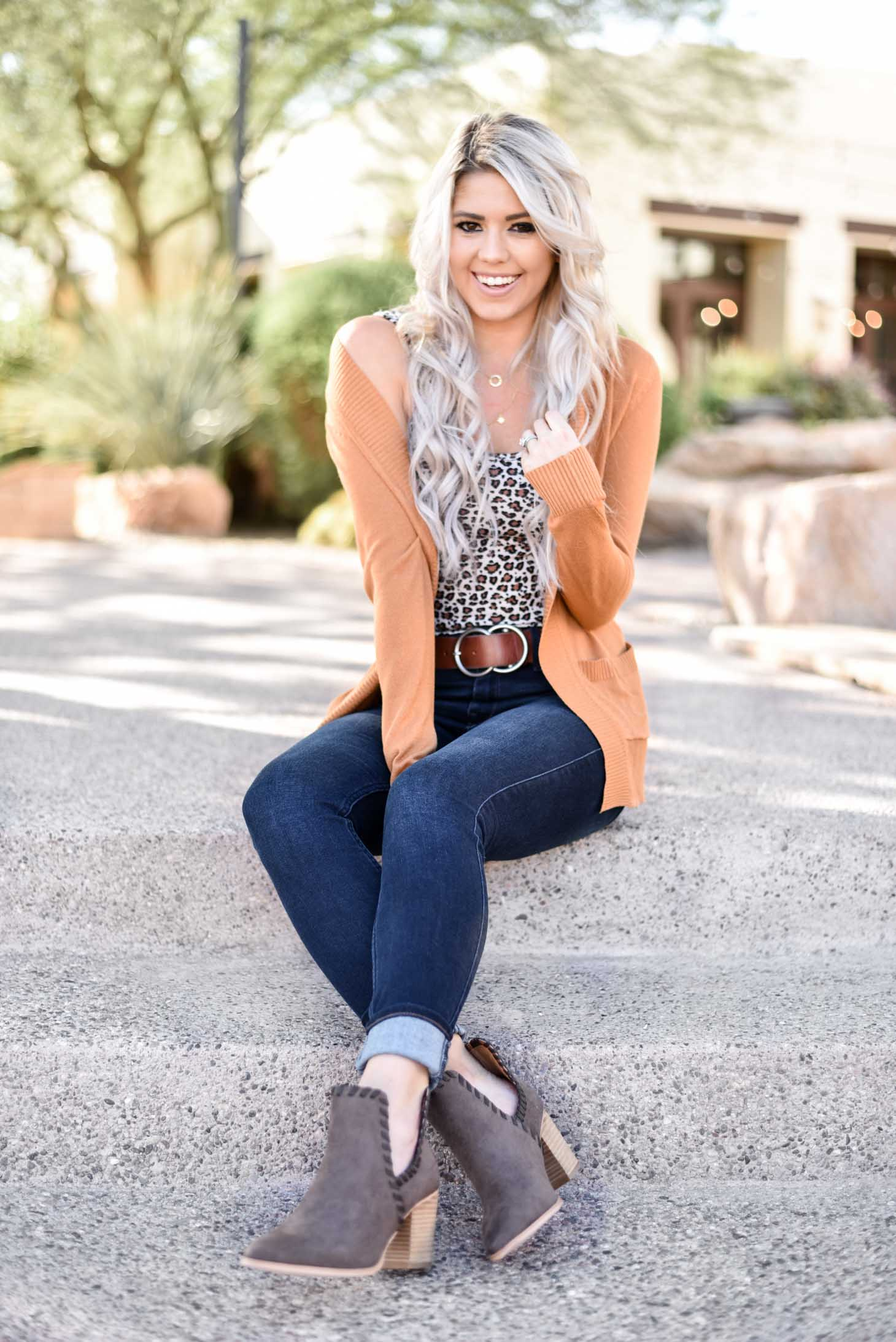 Erin Elizabeth of Wink and a Twirl share the perfect leopard tank with a must have cardigan from Pink Lily Boutique