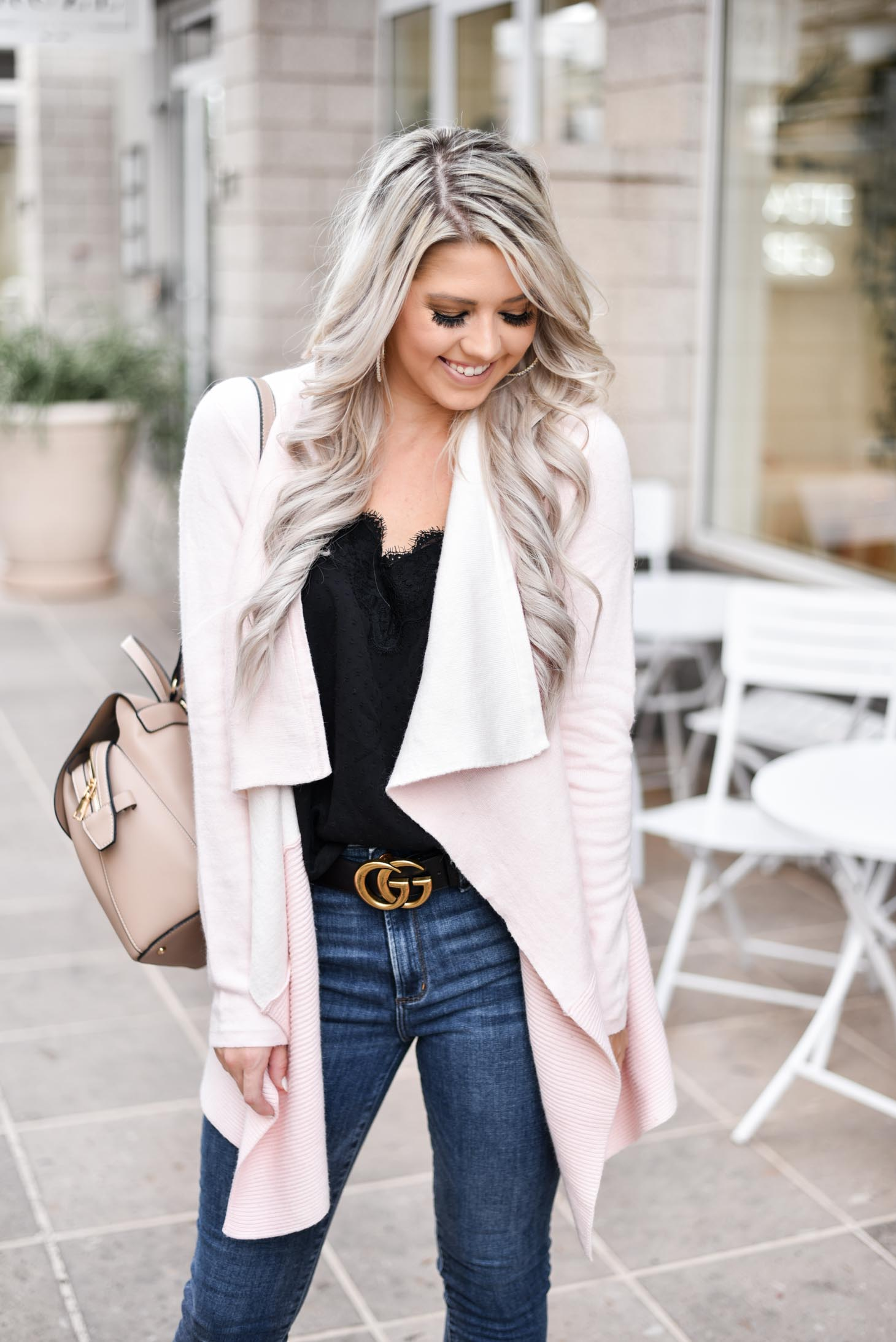 Erin Elizabeth of Wink and a Twirl shares the cutest pink cardigan from Chicwish - Perfect for pairing over jeans and a cami