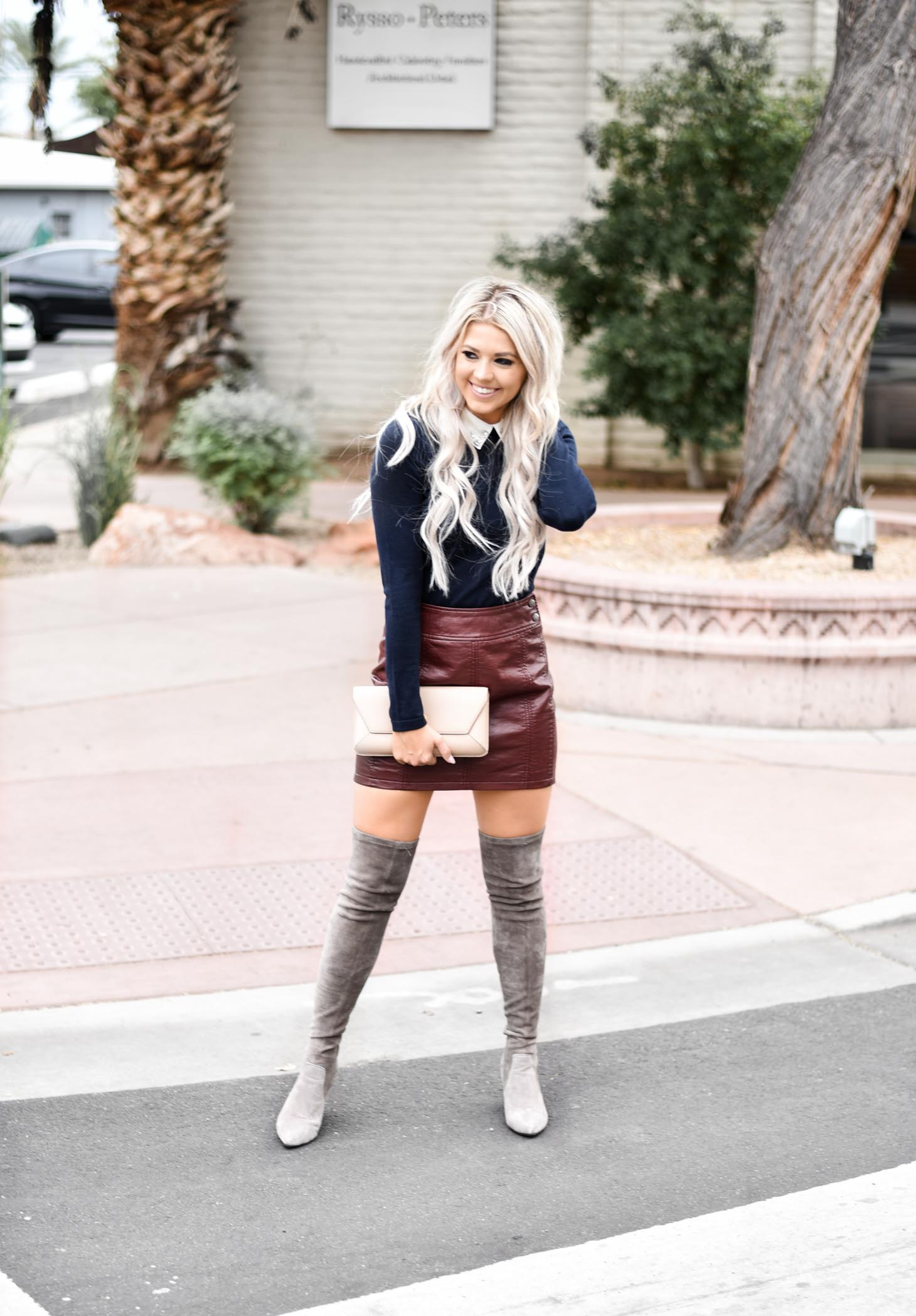Erin Elizabeth of Wink and a Twirl shares the must have collard top from CeCes Sportswear at Nordstrom