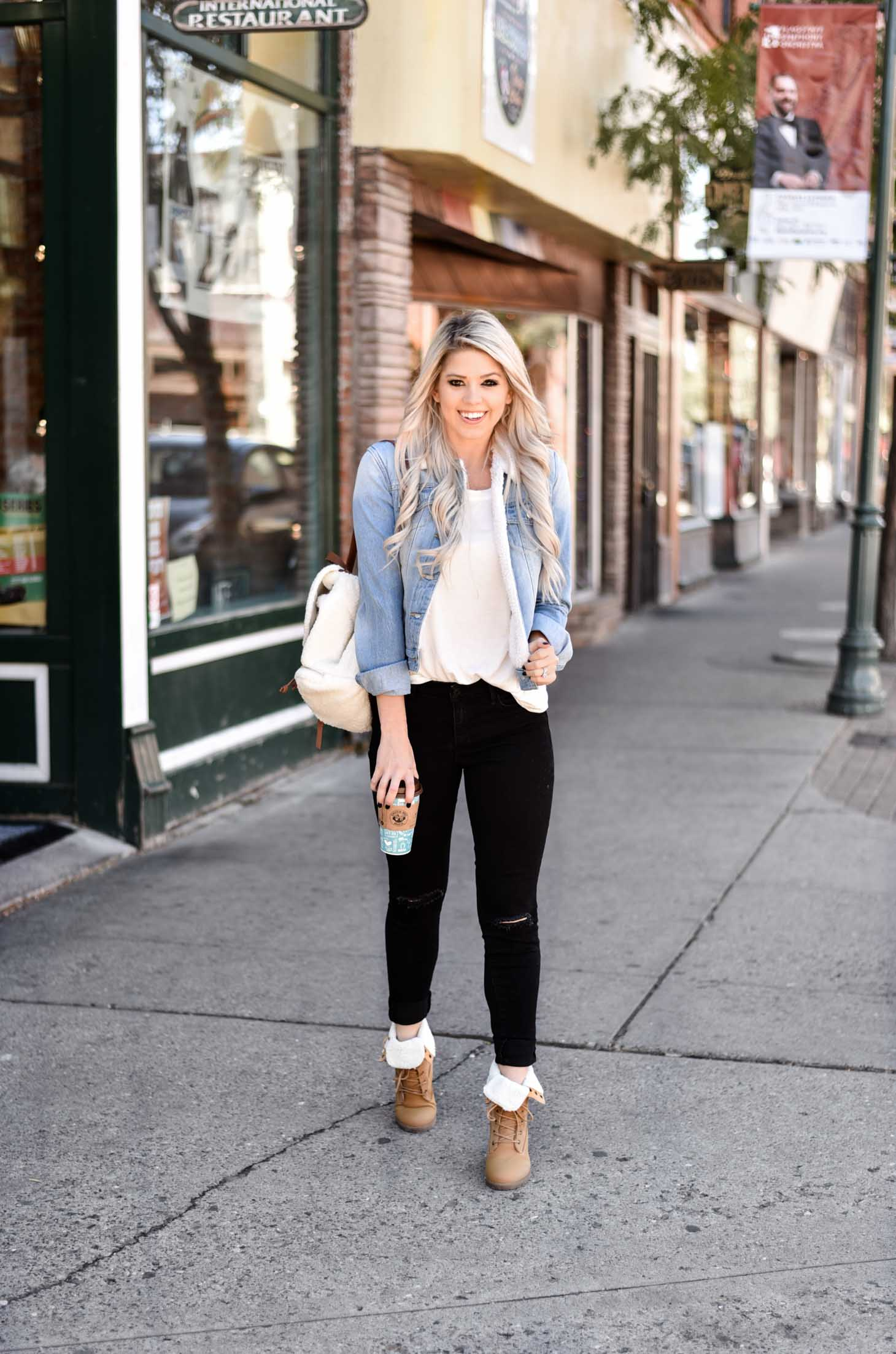 Erin Elizabeth of Wink and a Twirl shares a day and night look for Fall with Discovery Clothing