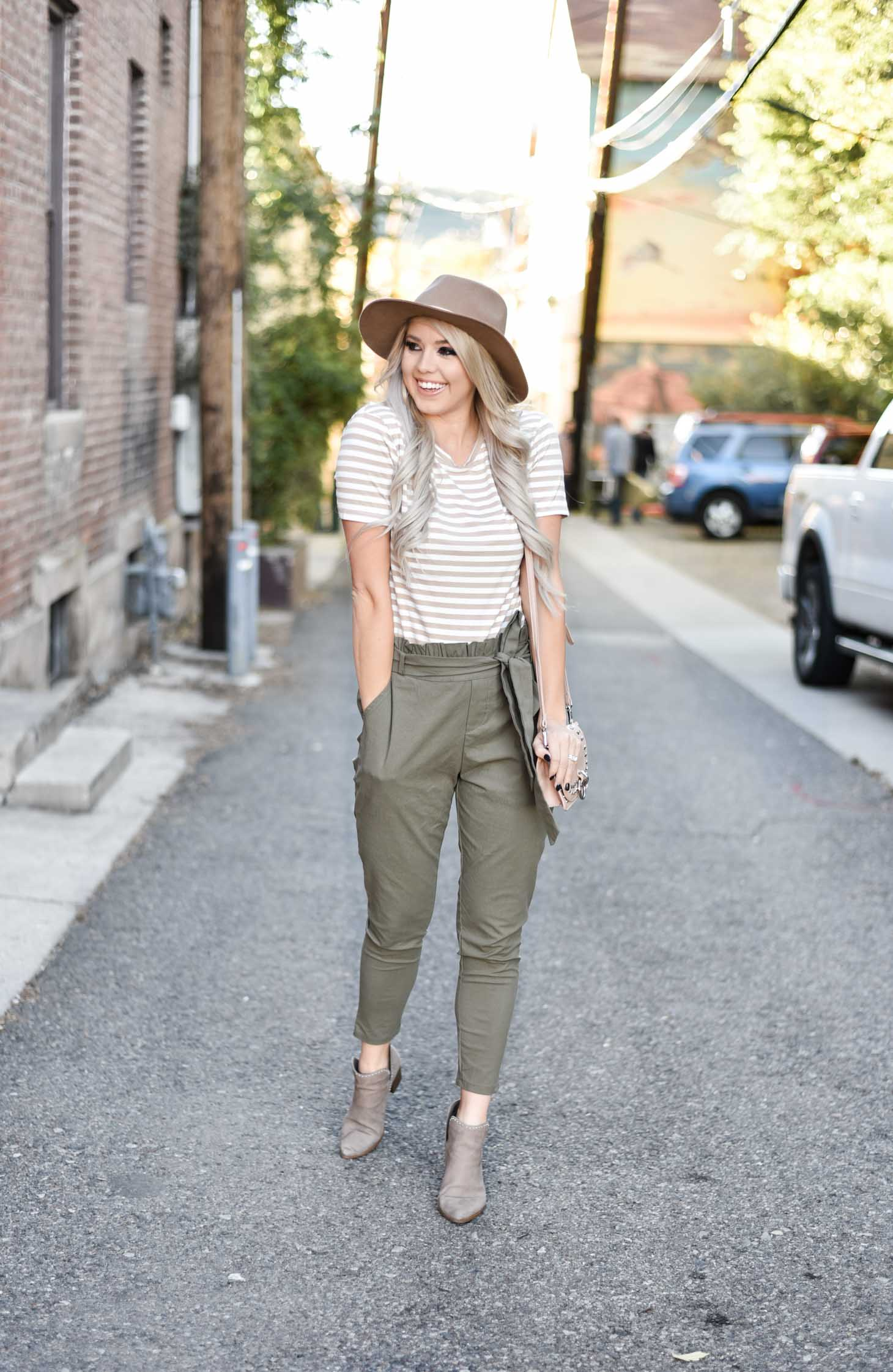 Erin Elizabeth of Wink and a Twirl shares the cutest high waist pants and striped top from Amaryllis Apparel