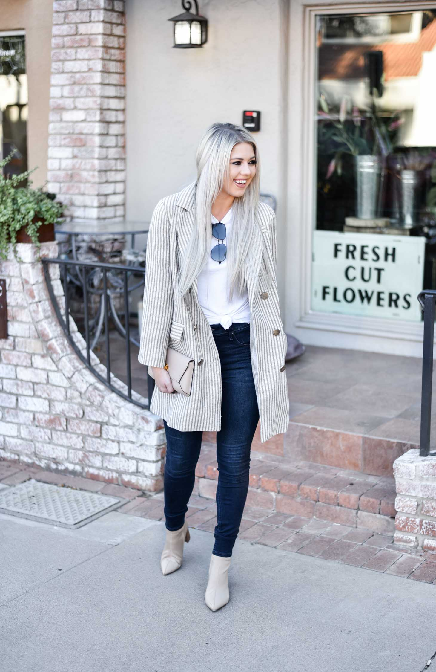 Oversized Pinstriped Blazer graphic