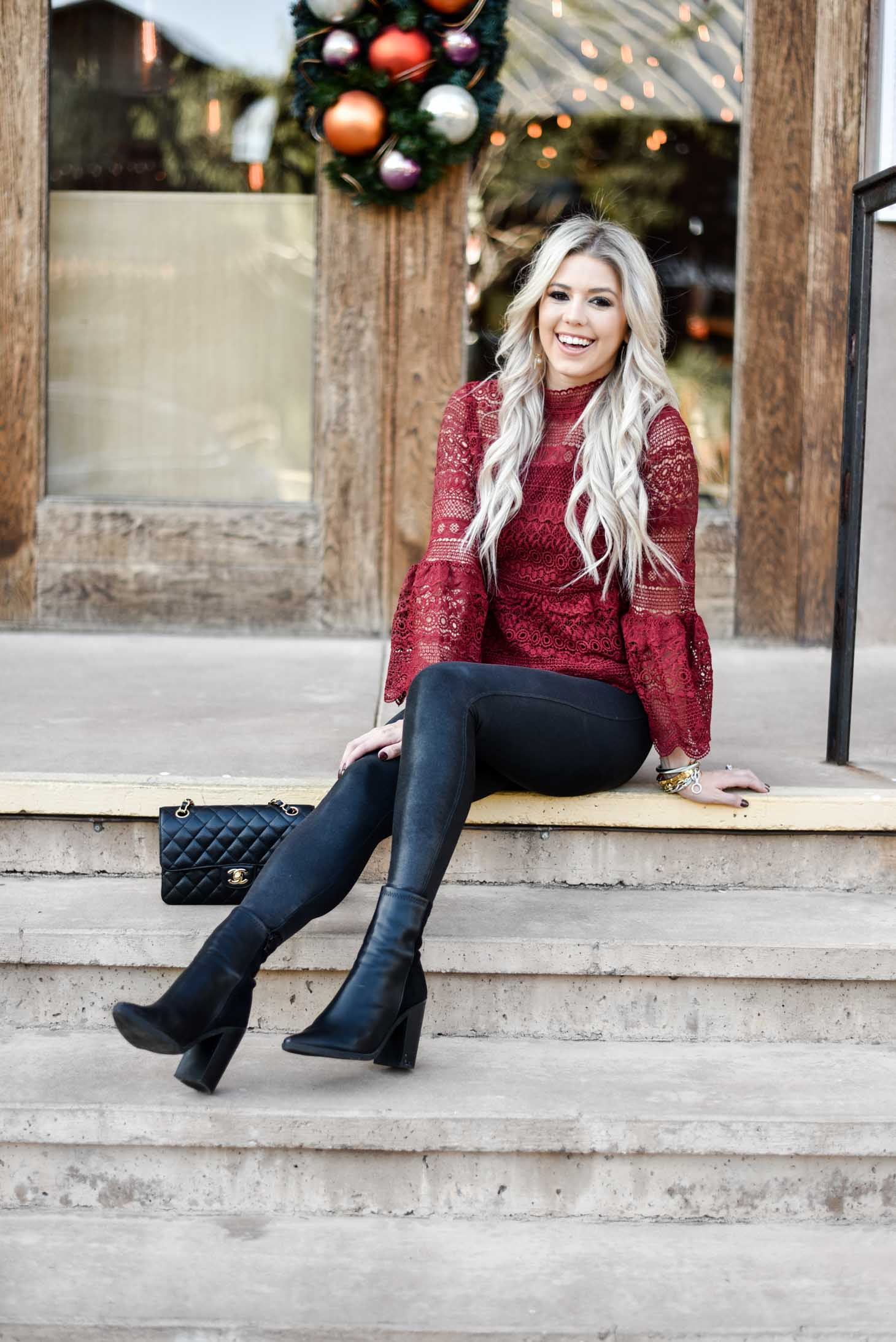 Erin Elizabeth of Wink and a Twirl shares the perfect comfortable holiday look with Spanx leggings and a fun holiday top from Chicwish
