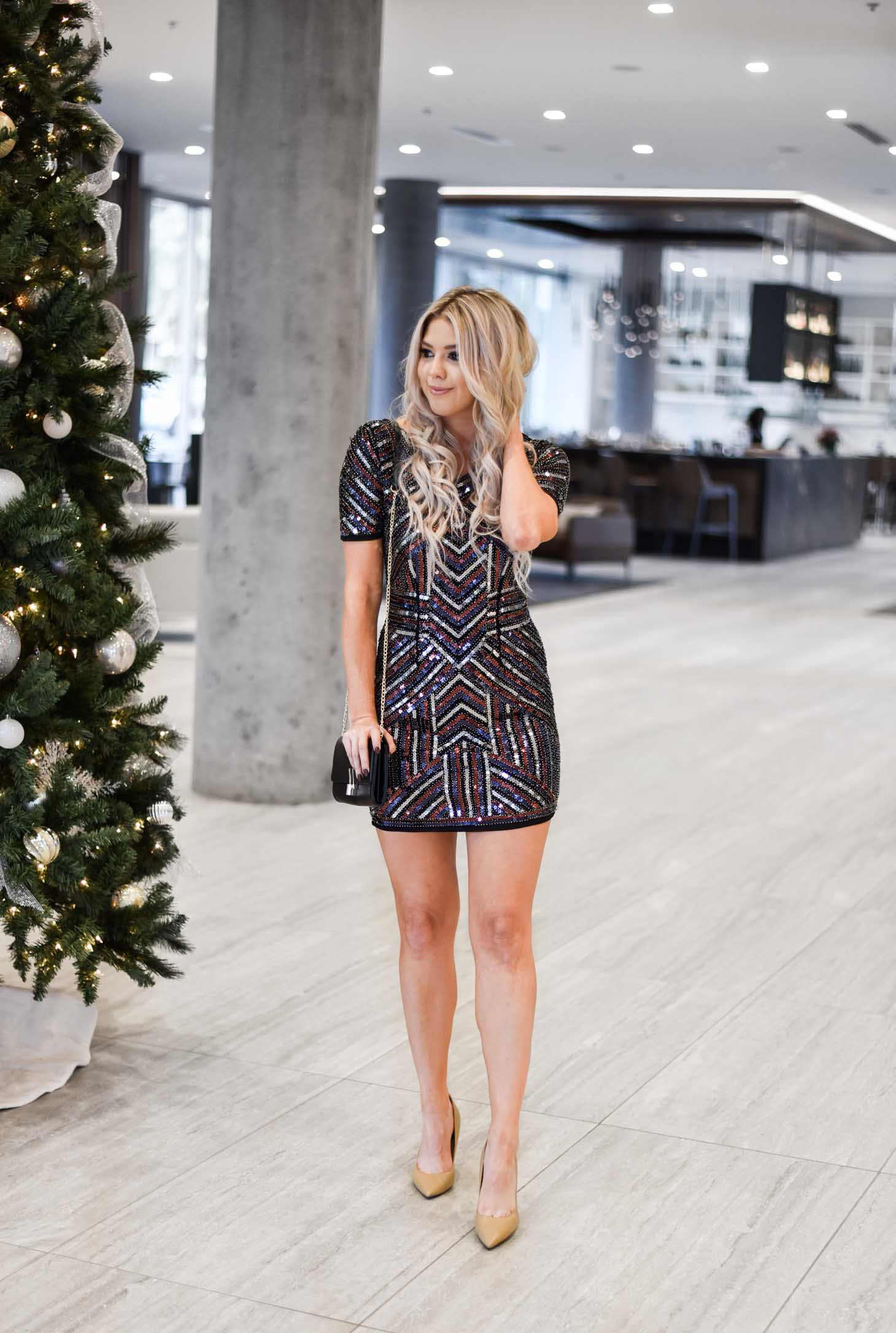 Erin Elizabeth of Wink and a Twirl shares the perfect sequin dress for Christmas or New Years Eve from Red Dress Boutique