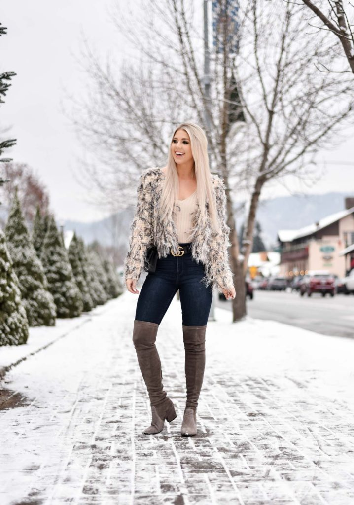 Erin Elizabeth of Wink and a Twirl share the perfect winter faux fur jacket from Windsor