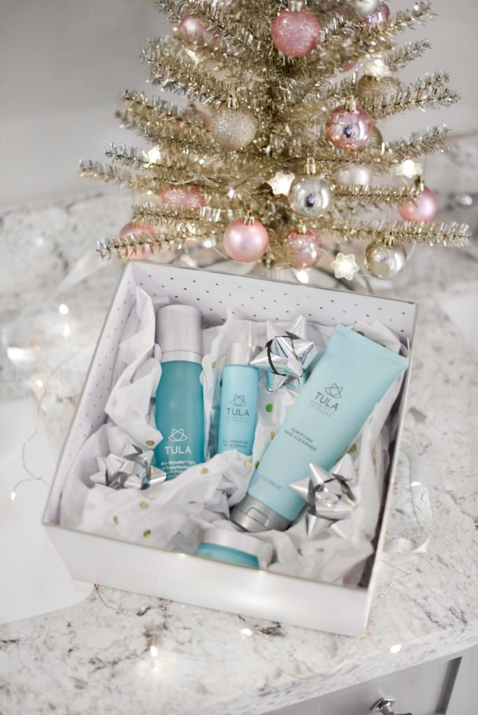 Erin Elizabeth of Wink and a Twirl shares her Tula skincare routine and holiday picks