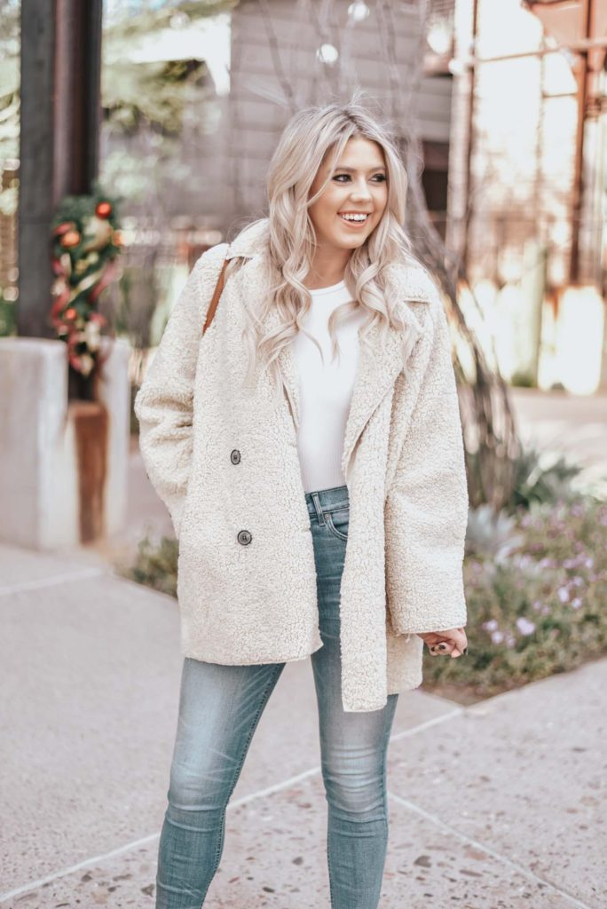 Erin Elizabeth of Wink and a Twirl shares the perfect winter teddy coat from Chicwish