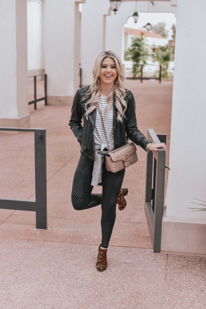 Erin Elizabeth of Wink and a Twirl shares the perfect leather leggings and jacket!