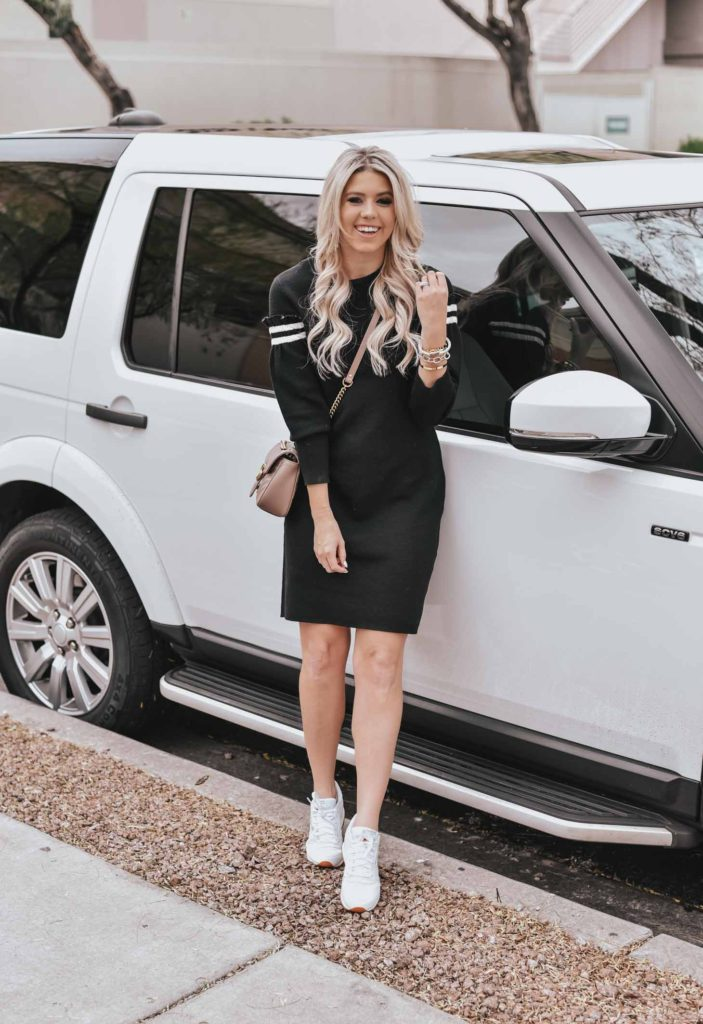 Erin Elizabeth of Wink and a Twirl shares the cutest sporty sweater dress from CeCe Sportswear at Nordstrom
