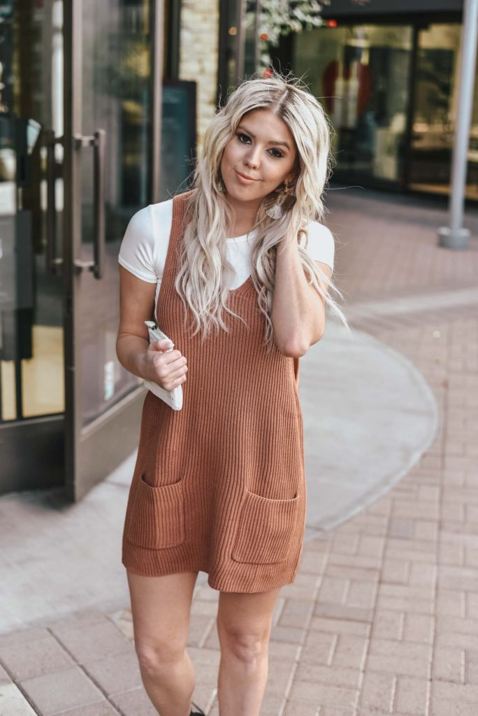 Erin Elizabeth of Wink and a Twirl shares the perfect sweater dress jumper and white tee look from Lulus!