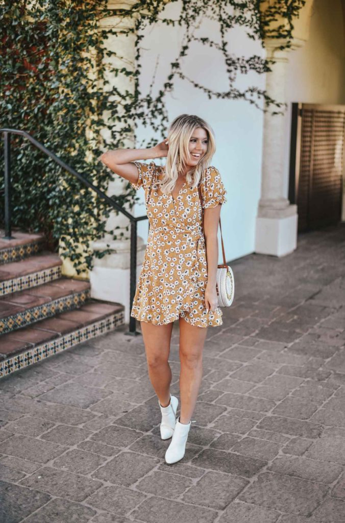 Erin Elizabeth of Wink and a Twirl shares the perfect Springtime dress and white booties from Lulus