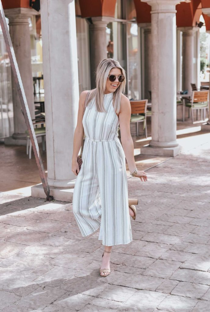 Erin Elizabeth of Wink and a Twirl shares the perfect neutral open back jumpsuit for Spring from 2 Be Bella