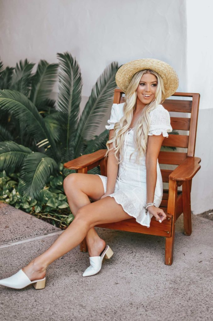 Erin Elizabeth of Wink and Twirl shares the perfect white eyelet dress from Lulus perfect for Spring and Summer!
