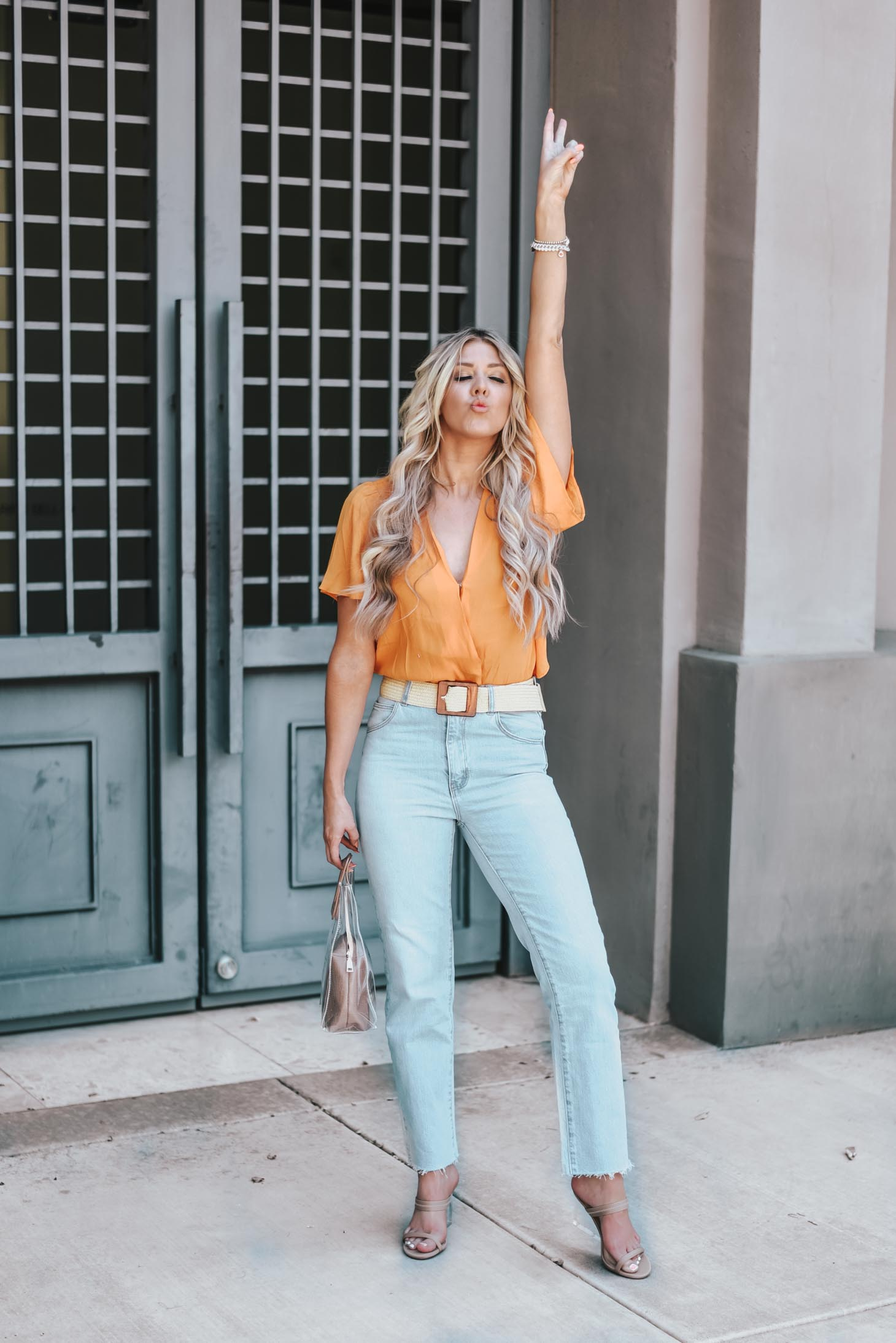 Neon and Light Wash Jeans graphic